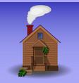 building of wooden sauna vector image vector image