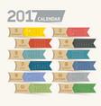 calendar 2017 print template design ribbon paper vector image vector image