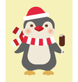 Christmas penguin with ice cream vector image vector image