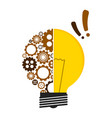 conceptual lightbulb icon with gear pieces vector image