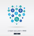 cyber security integrated thin line web icons vector image