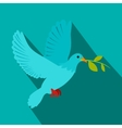 Dove of peace flying with a green twig olive icon vector image vector image