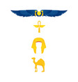 egypt symbols - winged sun ankh nemes and camel vector image vector image