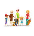 family travel of kids parents vector image
