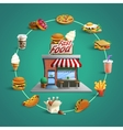 Fastfood Restaurant Pictograms Circle Composition vector image vector image