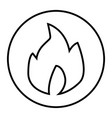 fire thin line icon burn vector image