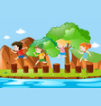 four kids jumping on the logs vector image vector image