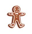 glazed gingerbread man cookie christmas symbol vector image vector image