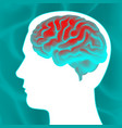 glowing human brain vector image vector image