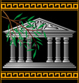 greek temple and olive branch vector image vector image
