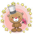 greeting card bear with stars vector image vector image