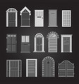 grey front house doors isolated on transparent vector image vector image