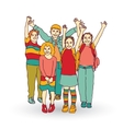 Group of happy children shadow isolate on white vector image vector image