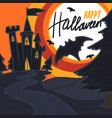 Halloween castle bat concept background hand