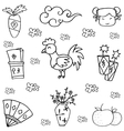 Hand draw of object Chinese New Year vector image vector image
