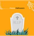 happy halloween spider web and gravestone i vector image