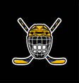 hockey helmet with stick in color vector image vector image