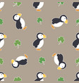 irish shamrock clovers puffins pattern vector image