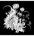Monochrome Vintage Floral Card with Chrysanthemums vector image