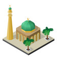mosque minaret and palm trees in isometric view vector image vector image