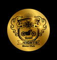 motorbike club golden emblem with vector image vector image