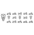 motorbike icons set outline style vector image
