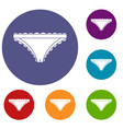 panties with frill icons set vector image vector image