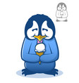 penguin eating ice cream vector image