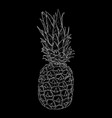 pineapple hand drawn sketch on black background vector image