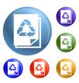 recycle paper icons set vector image