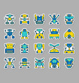 robot patch sticker icons set vector image
