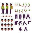 schoolboy creation set - little african boy with vector image vector image