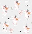 seamless pattern with cute fairy unicorns heads vector image vector image