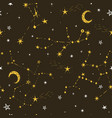 seamless star pattern with moon vector image vector image