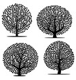 set of four black trees with leaves vector image