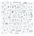 set random doodles with clouds rainbows lips vector image vector image
