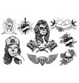 set vintage tattoos compositions vector image vector image