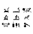 set workout and gym machines icons vector image vector image