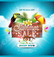 summer sale design with flower toucan and beach vector image vector image