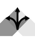 three-way direction arrow sign black icon vector image