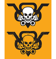 V8 Engine Emblem with Skull and Pistons vector image vector image