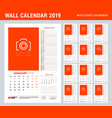 wall calendar planner template for 2019 year set vector image vector image