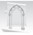 white paper sheet and gothic arch model vector image vector image