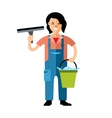 Window washer Cleaning service Flat style vector image