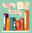 world book day books on shelf with festive banner vector image vector image