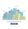 city skyline in flat linear vector image