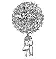 Hand-drawn love vector image