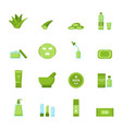 cartoon aloe vera icons set vector image vector image