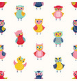 childish seamless pattern with cute wise owls on vector image vector image