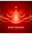 Christmas tree from light lines vector image vector image